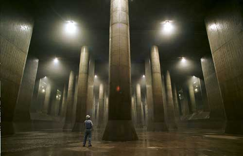 The Japan's Futuristic Underground Flood Tunnel looks like it would make a great level for Quake or Unreal.
